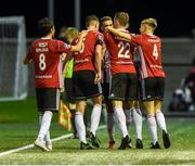 23 August 2019; Darren McCauley of Derry City celebrates with his team-mates after scoring the second goal during the Extra.ie FAI Cup Second Round match between Derry City and Dundalk at Ryan McBride Brandywell Stadium in Derry. Photo by Oliver McVeigh/Sportsfile