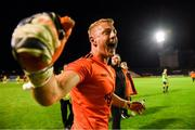 23 August 2019; Bohemians goalkeeper James Talbot celebrates after winning the penalty shoot-out during the Extra.ie FAI Cup Second Round match between Bohemians and Longford Town at Dalymount Park in Dublin. Photo by Piaras Ó Mídheach/Sportsfile