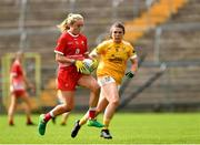 24 August 2019; Aoife Russell of Louth in action against Aislinn McFarland of Antrim during the TG4 All-Ireland Ladies Football Junior Championship Semi-Final match between Louth and Antrim at St Tiernach's Park in Clones, Monaghan. Photo by Ray McManus/Sportsfile