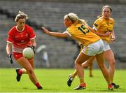 24 August 2019; Eilis Hand of Louth in action against Áine Tubridy of Antrim during the TG4 All-Ireland Ladies Football Junior Championship Semi-Final match between Louth and Antrim at St Tiernach's Park in Clones, Monaghan. Photo by Ray McManus/Sportsfile