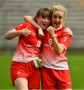 24 August 2019; Lauren Boyle and Aoife Russell of Louth celebrate after the TG4 All-Ireland Ladies Football Junior Championship Semi-Final match between Louth and Antrim at St Tiernach's Park in Clones, Monaghan. Photo by Ray McManus/Sportsfile