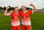 24 August 2019; Shannen McLoughlin, left, and Redecca Carr of Louth celebrate after the TG4 All-Ireland Ladies Football Junior Championship Semi-Final match between Louth and Antrim at St Tiernach's Park in Clones, Monaghan. Photo by Ray McManus/Sportsfile