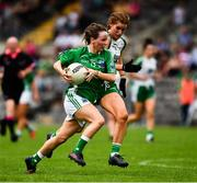 24 August 2019; Aisling O'Brien of Fermanagh in action against Naoimhin Daly of London during the TG4 All-Ireland Ladies Football Junior Championship Semi-Final match between Fermanagh and London at St Tiernach's Park in Clones, Monaghan. Photo by Ray McManus/Sportsfile