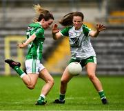 24 August 2019; Aisling O'Brien of Fermanagh, under pressure from Niamh Walsh of London, kicks a point with the last kick of the first half during the TG4 All-Ireland Ladies Football Junior Championship Semi-Final match between Fermanagh and London at St Tiernach's Park in Clones, Monaghan. Photo by Ray McManus/Sportsfile