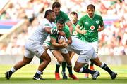 24 August 2019; Rob Kearney of Ireland is tackled by Billy Vunipola and Joe Marler of England during the Quilter International match between England and Ireland at Twickenham Stadium in London, England. Photo by Brendan Moran/Sportsfile