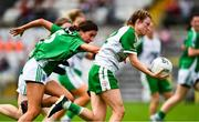 24 August 2019; Caroline McCarthy of London in action against Courtney Murphy of Fermanagh during the TG4 All-Ireland Ladies Football Junior Championship Semi-Final match between Fermanagh and London at St Tiernach's Park in Clones, Monaghan. Photo by Ray McManus/Sportsfile