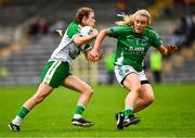 24 August 2019; Caroline McCarthy of London in action against Shannan McQuaid of Fermanagh during the TG4 All-Ireland Ladies Football Junior Championship Semi-Final match between Fermanagh and London at St Tiernach's Park in Clones, Monaghan. Photo by Ray McManus/Sportsfile