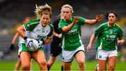 24 August 2019; Fiona Morrissey of London in action against Shannan McQuaid, centre, and Danielle Maguire of Fermanagh during the TG4 All-Ireland Ladies Football Junior Championship Semi-Final match between Fermanagh and London at St Tiernach's Park in Clones, Monaghan. Photo by Ray McManus/Sportsfile