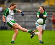 24 August 2019; Claire O'Brien of London in action against Molly Flynn of Fermanagh during the TG4 All-Ireland Ladies Football Junior Championship Semi-Final match between Fermanagh and London at St Tiernach's Park in Clones, Monaghan. Photo by Ray McManus/Sportsfile