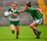 24 August 2019; Claire O'Brien of London in action against Erin Murphy of Fermanagh during the TG4 All-Ireland Ladies Football Junior Championship Semi-Final match between Fermanagh and London at St Tiernach's Park in Clones, Monaghan. Photo by Ray McManus/Sportsfile