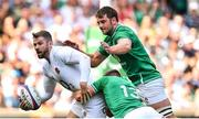 24 August 2019; Elliot Daly of England is tackled by Garry Ringrose and Iain Henderson of Ireland during the Quilter International match between England and Ireland at Twickenham Stadium in London, England. Photo by Brendan Moran/Sportsfile