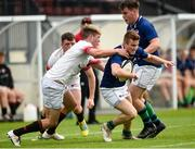 24 August 2019; Stuart McIlwaine of Queen's University Belfast in action against Louis O'Reilly of Dublin University during the Maxol Dudley Cup Challenge match between Dublin University and Queen's University Belfast at The Dub Pavilion in Queens Sports Pavilion, Belfast. This is Maxol's 28th year of IURU sponsorship, one of the longest and most enduring rugby sponsorships in Ireland. Photo by Oliver McVeigh/Sportsfile