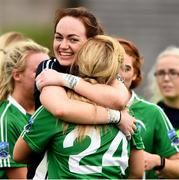 24 August 2019; Goalkeeper Shauna Murphy and Sarah McCausland of Fermanagh after the TG4 All-Ireland Ladies Football Junior Championship Semi-Final match between Fermanagh and London at St Tiernach's Park in Clones, Monaghan. Photo by Ray McManus/Sportsfile