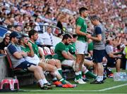 24 August 2019; Ross Byrne of Ireland with physio Keith Fox during the Quilter International match between England and Ireland at Twickenham Stadium in London, England. Photo by Brendan Moran/Sportsfile