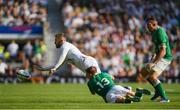 24 August 2019; Elliot Daly of England is tackled by Garry Ringrose of Ireland during the Quilter International match between England and Ireland at Twickenham Stadium in London, England. Photo by Ramsey Cardy/Sportsfile