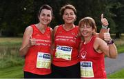 24 August 2019; Nicola Wong, Louise Irvin Aylward and Theresa Eccles of Drogheda and Disctric AC, Co. Louth prior to competing in the KBC & Dublin Marathon Race Series, where, over 5,200 runners took part in the Frank Duffy 10 Mile, part of the KBC Dublin Race Series 2019 at Phoenix Park in Dublin. Photo by Sam Barnes/Sportsfile