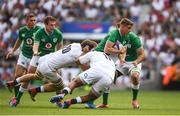 24 August 2019; Garry Ringrose of Ireland is tackled by Mark Wilson, left, and Mako Vunipola of England during the Quilter International match between England and Ireland at Twickenham Stadium in London, England. Photo by Ramsey Cardy/Sportsfile