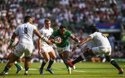 24 August 2019; Bundee Aki of Ireland evades the tackle by Billy Vunipola, left, and and Maro Itoje of England on his way to scoring his side's second try during the Quilter International match between England and Ireland at Twickenham Stadium in London, England. Photo by Ramsey Cardy/Sportsfile