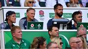 24 August 2019; Ireland coaching staff, from left, forwards coach Simon Easterby, head coach Joe Schmidt and defence Andy Farrell with IRFU Performance Director David Nucifora, front, during the Quilter International match between England and Ireland at Twickenham Stadium in London, England. Photo by Brendan Moran/Sportsfile