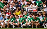 24 August 2019; The Ireland substitutes bench from left, Rob Kearney, Iain Henderson, Ross Byrne, Jean Kleyn, Rory Best and Conor Murray during the Quilter International match between England and Ireland at Twickenham Stadium in London, England. Photo by Ramsey Cardy/Sportsfile