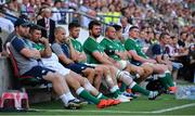 24 August 2019; Ireland players, including Rob Kearney, Ross Byrne, Jean Kleyn, Rory Best, Conor Murray, and Tadhg Furlong look on during the Quilter International match between England and Ireland at Twickenham Stadium in London, England. Photo by Brendan Moran/Sportsfile