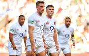 24 August 2019; Owen Farrell of England, right, and team-mate George Ford during the Quilter International match between England and Ireland at Twickenham Stadium in London, England. Photo by Brendan Moran/Sportsfile