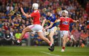 24 August 2019; Jerome Cahill of Tipperary in action against Tommy O'Connell, right, and Eoin Roche of Cork during the Bord Gáis Energy GAA Hurling All-Ireland U20 Championship Final match between Cork and Tipperary at LIT Gaelic Grounds in Limerick. Photo by David Fitzgerald/Sportsfile
