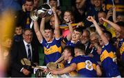 24 August 2019; Tipperary caption Craig Morgan lifts the cup following the Bord Gáis Energy GAA Hurling All-Ireland U20 Championship Final match between Cork and Tipperary at LIT Gaelic Grounds in Limerick. Photo by David Fitzgerald/Sportsfile