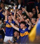 24 August 2019; Tipperary captain Craig Morgan lifts the cup following the Bord Gáis Energy GAA Hurling All-Ireland U20 Championship Final match between Cork and Tipperary at LIT Gaelic Grounds in Limerick. Photo by David Fitzgerald/Sportsfile