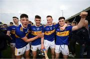 24 August 2019; Tipperary players, from left, Kian O'Kelly, Michael Purcell, Jerome Cahill and Darragh Woods celebrate following the Bord Gáis Energy GAA Hurling All-Ireland U20 Championship Final match between Cork and Tipperary at LIT Gaelic Grounds in Limerick. Photo by David Fitzgerald/Sportsfile