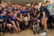 24 August 2019; Tipperary captain Craig Morgan and his team-mates celebrate with The James Nowlan Cup in the dressing room after the Bord Gáis Energy GAA Hurling All-Ireland U20 Championship Final match between Cork and Tipperary at LIT Gaelic Grounds in Limerick. Photo by Piaras Ó Mídheach/Sportsfile