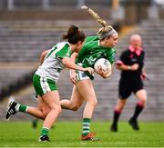 24 August 2019; Danielle McManus of Fermanagh in action against Cara Usher of London during the TG4 All-Ireland Ladies Football Junior Championship Semi-Final match between Fermanagh and London at St Tiernach's Park in Clones, Monaghan. Photo by Ray McManus/Sportsfile