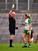 24 August 2019; Referee Gerry Carmody issues a Yellow Card to Niamh Lister of London during the TG4 All-Ireland Ladies Football Junior Championship Semi-Final match between Fermanagh and London at St Tiernach's Park in Clones, Monaghan. Photo by Ray McManus/Sportsfile
