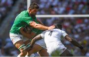 24 August 2019; Ross Byrne, right, supported by Ireland team-mate Jean Kleyn in action against Maro Itoje of England during the Quilter International match between England and Ireland at Twickenham Stadium in London, England. Photo by Ramsey Cardy/Sportsfile