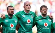 24 August 2019; Ireland players, from left, Tadhg Beirne, Devin Toner and Iain Henderson prior to the Quilter International match between England and Ireland at Twickenham Stadium in London, England. Photo by Brendan Moran/Sportsfile
