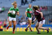 25 August 2019; Sarah Rowe of Mayo in action against Shauna Molloy of Galway during the TG4 All-Ireland Ladies Senior Football Championship Semi-Final match between Galway and Mayo at Croke Park in Dublin. Photo by Brendan Moran/Sportsfile