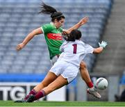 25 August 2019; Rachel Kearns of Mayo scores her side's first goal past Galway goalkeeper Lisa Murphy during the TG4 All-Ireland Ladies Senior Football Championship Semi-Final match between Galway and Mayo at Croke Park in Dublin. Photo by Brendan Moran/Sportsfile
