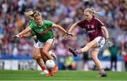 25 August 2019; Barbara Hannon of Galway in action against Sarah Rowe of Mayo during the TG4 All-Ireland Ladies Senior Football Championship Semi-Final match between Galway and Mayo at Croke Park in Dublin. Photo by Brendan Moran/Sportsfile