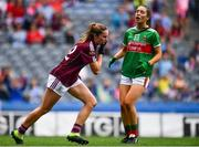 25 August 2019; Mairéad Seoighe of Galway after scoring her side's second goal during the TG4 All-Ireland Ladies Senior Football Championship Semi-Final match between Galway and Mayo at Croke Park in Dublin. Photo by Sam Barnes/Sportsfile