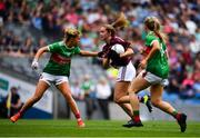 25 August 2019; Mairéad Seoighe of Galway in action against Sarah Rowe, left, and Éilis Roynane of Mayo of Mayo during the TG4 All-Ireland Ladies Senior Football Championship Semi-Final match between Galway and Mayo at Croke Park in Dublin. Photo by Sam Barnes/Sportsfile