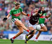 25 August 2019; Grace Kelly of Mayo in action against Orla Murphy of Galway during the TG4 All-Ireland Ladies Senior Football Championship Semi-Final match between Galway and Mayo at Croke Park in Dublin. Photo by Brendan Moran/Sportsfile