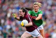 25 August 2019; Nicola Ward of Galway in action against Grace Kelly of Mayo during the TG4 All-Ireland Ladies Senior Football Championship Semi-Final match between Galway and Mayo at Croke Park in Dublin. Photo by Brendan Moran/Sportsfile