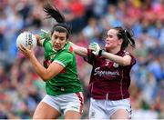 25 August 2019; Rachel Kearns of Mayo in action against Nicola Ward of Galway during the TG4 All-Ireland Ladies Senior Football Championship Semi-Final match between Galway and Mayo at Croke Park in Dublin. Photo by Brendan Moran/Sportsfile