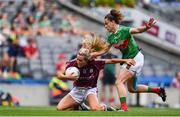 25 August 2019; Megan Glynn of Galway in action against Kathryn Sullivan of Mayo during the TG4 All-Ireland Ladies Senior Football Championship Semi-Final match between Galway and Mayo at Croke Park in Dublin. Photo by Sam Barnes/Sportsfile