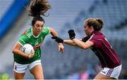 25 August 2019; Niamh Kelly of Mayo is tackled by Mairéad Seoighe of Galway during the TG4 All-Ireland Ladies Senior Football Championship Semi-Final match between Galway and Mayo at Croke Park in Dublin. Photo by Brendan Moran/Sportsfile