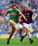 25 August 2019; Niamh Kelly of Mayo solos away from Louise Ward of Galway during the TG4 All-Ireland Ladies Senior Football Championship Semi-Final match between Galway and Mayo at Croke Park in Dublin. Photo by Brendan Moran/Sportsfile