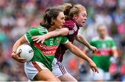 25 August 2019; Niamh Kelly of Mayo is tackled by Louise Ward of Galway during the TG4 All-Ireland Ladies Senior Football Championship Semi-Final match between Galway and Mayo at Croke Park in Dublin. Photo by Brendan Moran/Sportsfile