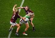 25 August 2019; Fiona Doherty of Mayo is tackled by Sinéad Burke, left, and Áine McDonagh of Galway during the TG4 All-Ireland Ladies Senior Football Championship Semi-Final match between Galway and Mayo at Croke Park in Dublin. Photo by Eóin Noonan/Sportsfile