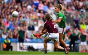 25 August 2019; Sarah Rowe of Mayo in action against Sinéad Burke of Galway during the TG4 All-Ireland Ladies Senior Football Championship Semi-Final match between Galway and Mayo at Croke Park in Dublin. Photo by Sam Barnes/Sportsfile