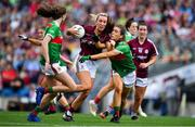 25 August 2019; Megan Glynn of Galway is tackled by Dayna Finn of Mayo during the TG4 All-Ireland Ladies Senior Football Championship Semi-Final match between Galway and Mayo at Croke Park in Dublin. Photo by Brendan Moran/Sportsfile